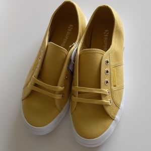 Superga women's canvas mustard yellow sneakers